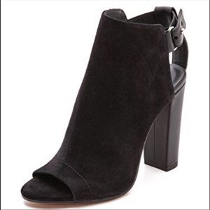 VINCE Addison Black Suede Open Toe Boot Si…